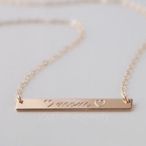 Jewelry - 14k Gold Filled ♡ mom ♡ Engraved Bar Necklace